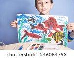 european boy demonstrates... | Shutterstock . vector #546084793