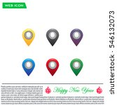 set of six round  colorful map... | Shutterstock .eps vector #546132073