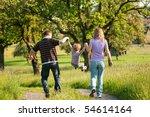 family having a walk outdoors...   Shutterstock . vector #54614164