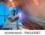 welder worker man welding hull... | Shutterstock . vector #546163087