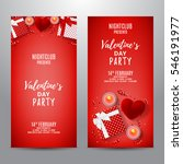 set of red party flyers for... | Shutterstock .eps vector #546191977