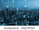 city scape and network... | Shutterstock . vector #546199567
