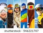 Photo Collage On Ski Theme Wit...