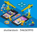 mobile app development. flat 3d ...