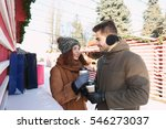 woman and man drinking coffee... | Shutterstock . vector #546273037