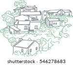 stone houses among the trees in ... | Shutterstock .eps vector #546278683