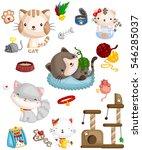 Stock vector happy cat 546285037