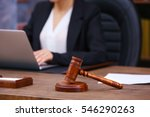 brown gavel on wooden table and ... | Shutterstock . vector #546290263