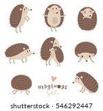 Vector Set Of Cute Hedgehogs.