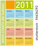 colorful calendar for year 2011 ... | Shutterstock .eps vector #54636292
