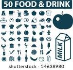50 food   drink signs. vector