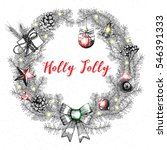 holly jolly calligraphy phrase... | Shutterstock . vector #546391333