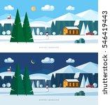 winter landscape. snowy village ... | Shutterstock .eps vector #546419443