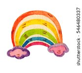 colorful watercolor rainbow... | Shutterstock . vector #546480337