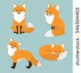 set of cute cartoon foxes.... | Shutterstock .eps vector #546504403