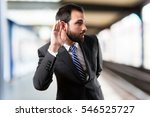 young business man hearing... | Shutterstock . vector #546525727