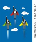businessman superhero fly... | Shutterstock .eps vector #546573817