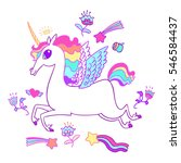 the cute magic unicorn and... | Shutterstock .eps vector #546584437