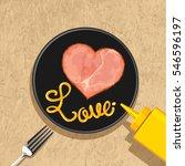 heart ham slices with love... | Shutterstock .eps vector #546596197