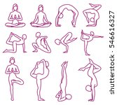 yoga poses vector silhouettes ... | Shutterstock .eps vector #546616327