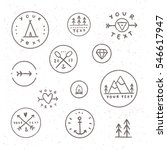 Set of hand drawn badges. Collection of outdoor, camping, tribe labels. Retro style, old texture | Shutterstock vector #546617947