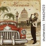 havana retro poster. | Shutterstock . vector #546624523