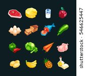 everyday food products. icons... | Shutterstock .eps vector #546625447