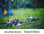 cooking breakfast on a campfire ... | Shutterstock . vector #546653833