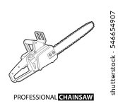 outline chainsaw on white...