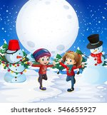 boy and girl playing with snow... | Shutterstock .eps vector #546655927