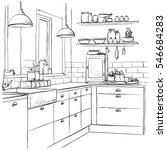 kitchen interior drawing ... | Shutterstock .eps vector #546684283