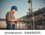 man using tablet at natural gas ... | Shutterstock . vector #546698293