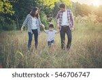 happy young family spending... | Shutterstock . vector #546706747
