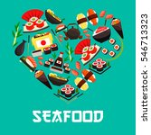 seafood in heart shape. poster... | Shutterstock .eps vector #546713323
