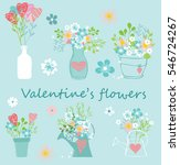 floral hand drawn vector set.... | Shutterstock .eps vector #546724267