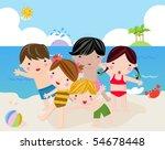 children on the sunny beach | Shutterstock .eps vector #54678448