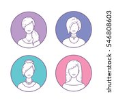 vector set of icons girls... | Shutterstock .eps vector #546808603