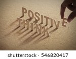 think positive wood word on... | Shutterstock . vector #546820417