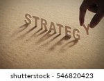 strategy wood word on... | Shutterstock . vector #546820423