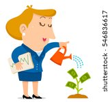 business woman watering a... | Shutterstock . vector #546836617