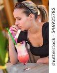 attractive girl drinking... | Shutterstock . vector #546925783