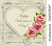 happy valentines day lettering... | Shutterstock .eps vector #546929047