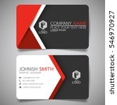 Red modern creative business card and name card,horizontal simple clean template vector design, layout in rectangle size. | Shutterstock vector #546970927