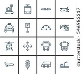 set of 16 transportation icons. ... | Shutterstock . vector #546983317