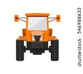 Orange Tractor. Vector...