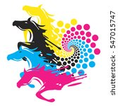 horses with print color circle... | Shutterstock .eps vector #547015747