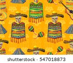 mexican seamless music pattern... | Shutterstock .eps vector #547018873