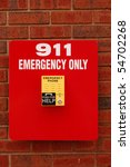 emergency phone  yellow on red... | Shutterstock . vector #54702268