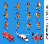 fireman isometric set of...