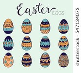 cute hand drawn doodle easter... | Shutterstock .eps vector #547134073